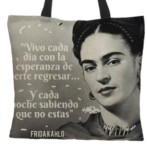 Handbags - Frida Kahlo Large Tote Bag Spanish Text Linen